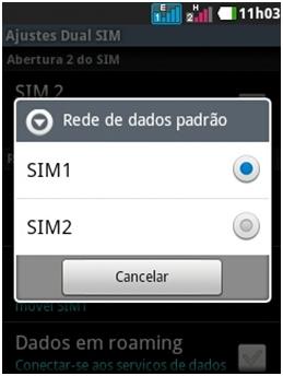 Selecione o SIM que vai acessar internet
