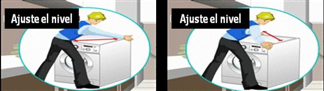 Información básica para evitar ruido y vibración, la secadora debe ser nivelada. Diagnóstico, ajuste las patas delanteras, ruido. Para evitar ruido y vibración, la secadora debe ser nivelada.