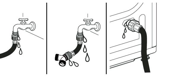 Nota: Antes de conectar la línea de agua a la secadora, enjuague con varios galones de agua dentro del desagüe. Esto ayudará a evitar que partículas extrañas como la arena o el sarro atasquen la válvula de entrada de la secadora. No apriete demasiado el acoplamiento podría resultar dañado.