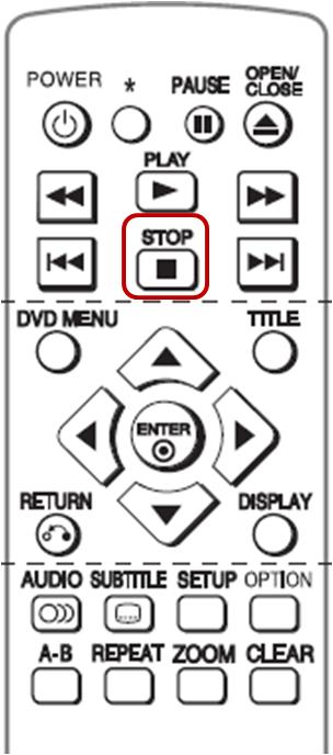 Apunte el remoto al reproductor, presione el botón STOP, para detener cualquier disco que está reproduciendo. A continuación vuelva a oprimir STOP y sostenga por 15 segundos antes de soltar el botón.