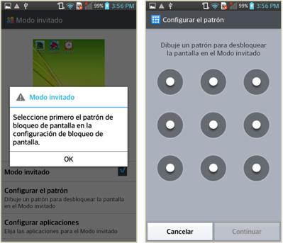 Seleccionar configuración de bloque de pantalla.