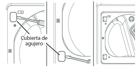 Abra la puerta y retire las dos cubiertas de plástico que cubren el agujero en la zona de sujeción; para ello, presione con cuidado hacia arriba con un destornillador de punta plana. Guárdelas para el paso