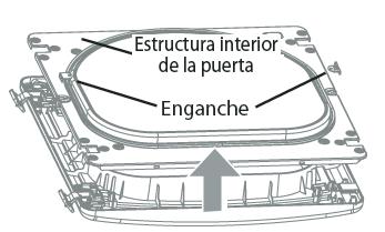 3.Con la puerta colocada sobre una superficie protegida, retire los 12 tornillos de cada lado de la puerta y retire el panel interior de la puerta con un destornillador de punta plana. Retire el enganche y la pieza, y llévelas al lado opuesto