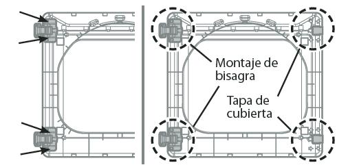 4.Retire los 4 tornillos fijando las bisagras a la estructura de la puerta. Retire los dos rellenadores de plástico. Vuelva a instalar las bisagras y los rellenadores en los lados opuestos a su posición inicial.