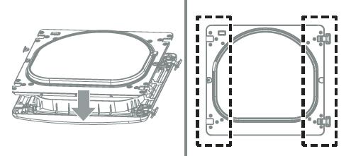 5.Con las bisagras y los rellenadores en la nueva posición, monte de nuevo el panel interior de la puerta en la estructura de ésta con los tornillos retirados en el paso 3 anterior.