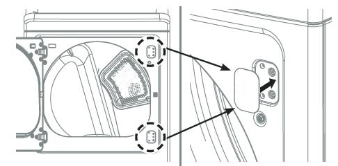 6.Vuelva a colocar la puerta utilizando los tornillos de los pasos 1 y 2.