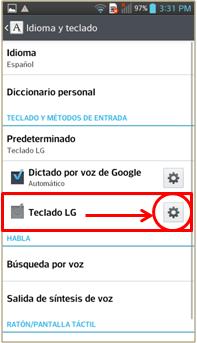 Pulse el icono del engrane en el renglón de Teclado LG.