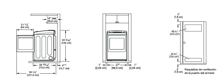 Igualmente se deben considerar las separaciones para ambos lados de la secadora para reducir la transmisión de ruido. Al realizar la instalación en un armario o una habitación cerrada, debe haber salidas de ventilación mínimas en la parte superior e inferior del lugar. También se permiten las puertas con persianas con salidas de ventilación equivalentes.