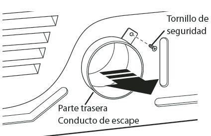 Retire el tornillo de seguridad del conducto de escape trasero. Saque el conducto de escape.