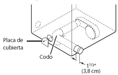 Conecte un codo de 4 pulgadas 10.2 cms. a la siguiente sección de conducto de 4 pulgadas 10.2 cms. y asegure todas las conexiones con cinta adhesiva impermeable. Asegúrese de que el extremo macho del codo apunte hacia afuera de la secadora.