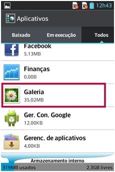 Selecione o aplicativo Galeria