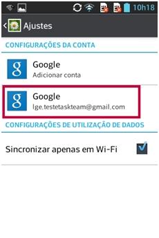 Aplicativos, Ajustes ou Configuração, Contas e Sincronização, Clique em Google, clique em sua conta