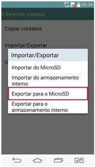 Selecione a opção Exportar para Micro SD
