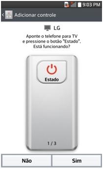 Aponte o telefone para o aparelho e pressione o botão Estado
