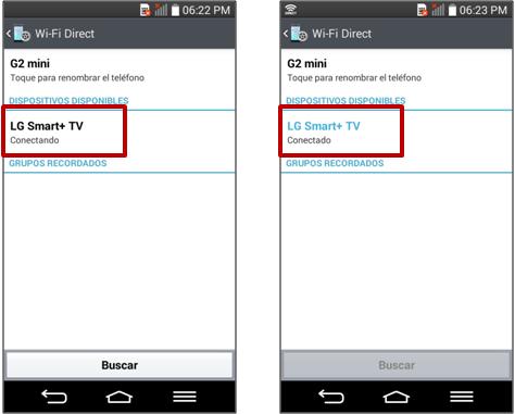 """Seleccione el dispositivo al cual desea conectar su Smartphone hasta que le presente la leyenda """"Conectado""""."""