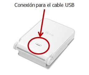 Se muestra la conexión USB del cargador.