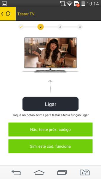 Teste de códigos para TV