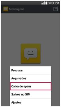 Para verificar as mensagens Spam do número registrado, clique em Menu e Caixa de Spam