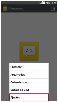 Para configurar um número Spam Clique Menu , Ajuste