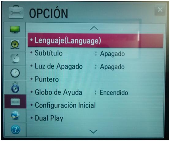 Opción - Lenguaje.