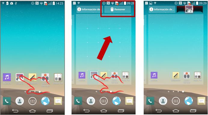 """Para eliminar un elemento de la pantalla principal mantenga presionado el ícono que desea eliminar arrástrelo al ícono del """"bote"""" con la leyenda """"Remover""""."""