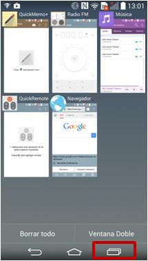 """1 Mantenga presionada la tecla """"Reciente"""". Aparecerá una lista de aplicaciones recientemente utilizadas."""