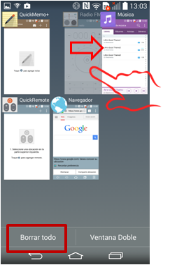 """Para quitar una aplicación de la lista de aplicaciones recientes, deslice la vista previa de la aplicación a la izquierda o a la derecha. Para borrar todas las aplicaciones, toque """"Borrar todo""""."""