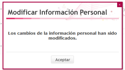Modificar Información Personal.