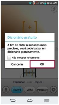 A mensagem de Dicionário gratuito aparecerá na tela