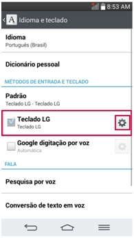Localize Teclado LG