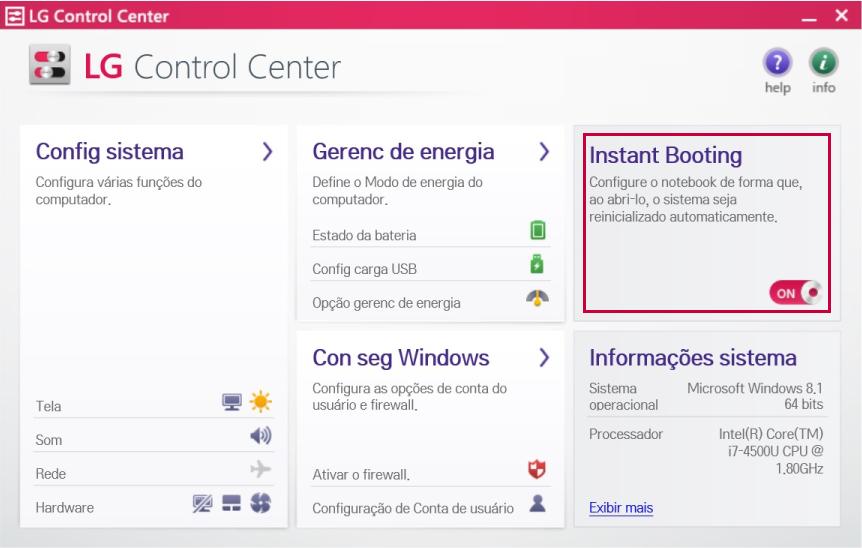 Programa LG Control Center - Função Instant Booting