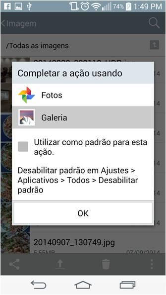 Um pop up mostrará as opções de aplicativos a ser utilizado para a visualização