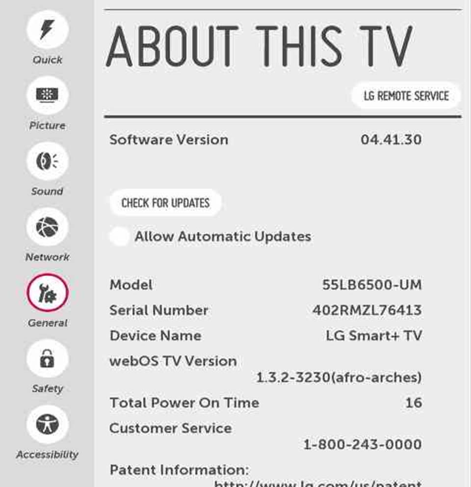 webOS Settings Menu - webOS 1 0 | LG USA Support