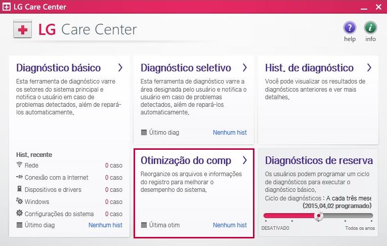 Tela do LG Care Center - Otimização do comp.
