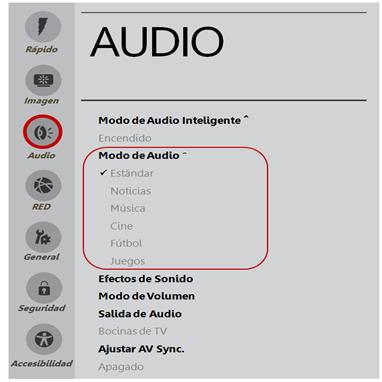 Home, OK, Audio, Modo de Audio.