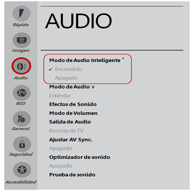 Configuración de audio inteligente