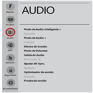 Descripción del menú audio