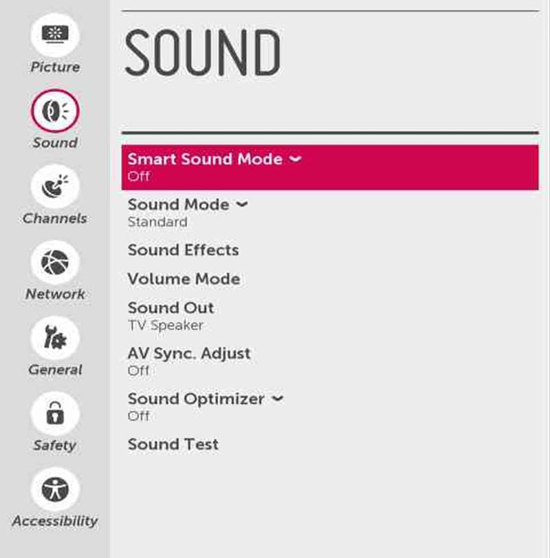 Sound Settings Menu - webOS 2 0 | LG USA Support