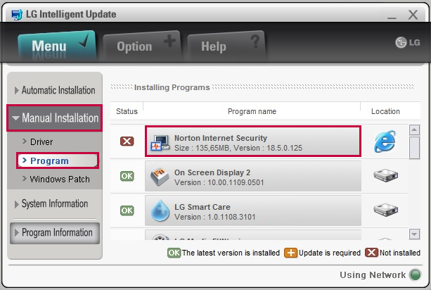 LG Intelligent Update - Manual Installation