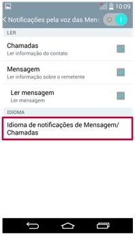 Idioma de notificação de Mensagem/Chamadas
