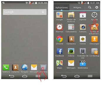 """En la pantalla principal pulse el ícono de """"Aplicaciones"""" y después el ícono de """"Ajuste""""."""