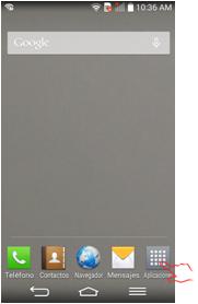 """En su pantalla de inicio presione el botón de """"Aplicaciones""""."""