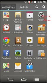 """Seleccione el botón de """"Configuraciones""""."""