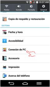 "Seleccione ""Conexión de PC""."