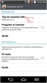 """Elija la opción de """"Tipo de conexión USB""""."""