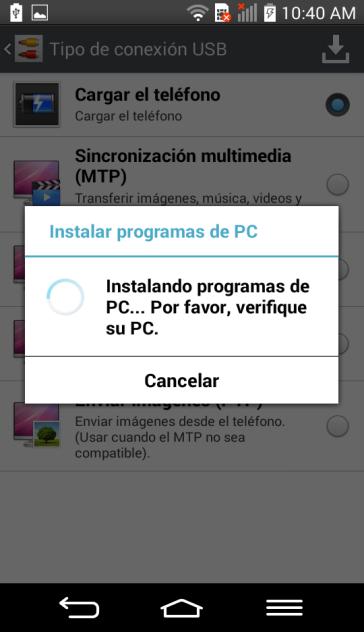 Por último le aparecerá una ventana donde se le indicará que se está instalando el software; sólo permita que dicho procedimiento concluya.