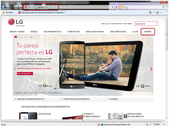 """En la página de www.lg.com/mx pulse clic sobre """"Soporte""""."""