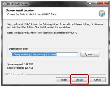 """Cuando el asistente de instalación le solicite la dirección en donde se guardará el archivo, se recomienda que sólo pulse el botón """"Instalar"""" y al finalizar únicamente pulse en """"siguiente""""."""