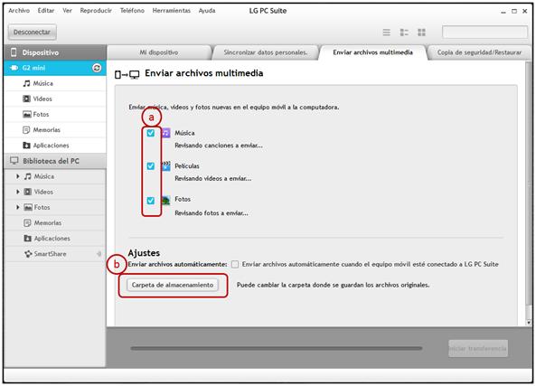 """Para sincronizar los archivos multimedia, música, video e imagen, primero configure en la ficha de """"Enviar archivos multimedia"""": 1 El tipo de archivos que desea compartir. 2 La carpeta en la cual desea guardar los archivos."""