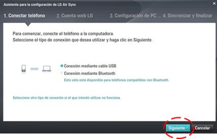 """Cuando el equipo no esté conectado antes de iniciar el software presentará la siguiente pantalla, en la cual tendrá que seleccionar el tipo de """"Conexión USB"""" y """"Siguiente""""."""